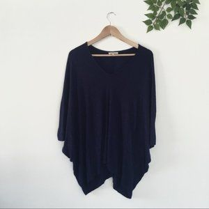 Bordeaux Anthropologie Navy Blue Poncho tunic